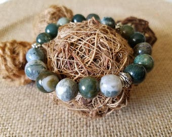 Natural gemstone spiritual mala bracelet/ fancy jasper*/ yoga / meditation/ jewelry/ anellietherapia