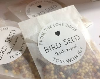 Birdseed Wedding Favors in Display Box, Eco-Friendly, Ready to Ship, Birdseed Toss Favors, Just Married, Wildlife Fall Weddings, Classic