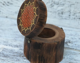 Wooden Ring Box, Casket for small items, Wooden Box, Tree Ring Box, Storage Box, Jewelry Box, Ring Bearer Box