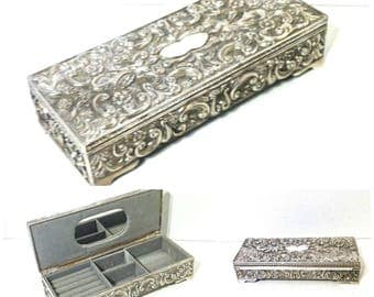Vintage GODINGER SILVER  Jewelry Box Wedding Gift For Her Silver Footed Jewelry Storage Jewelry Case Vanity Decor