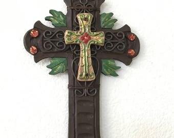 Decorated cross /home decor/ religious / cross/ wooden cross/ wall art/ Christmas Cross