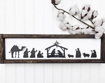 Nativity Scene | Painted Sign  | Wood Sign | Farmhouse Sign | Christmas