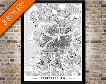 Buildings of St Petersburg map art   Printable Russia map print, Saint Petersburg print, St Petersburg poster, St Petersburg art, Wall art