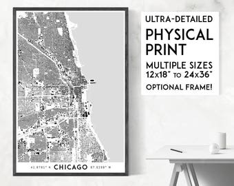 Buildings of Chicago print | Physical Chicago map print, Chicago wall art, Chicago art, Chicago map art, Chicago poster, Illinois map print