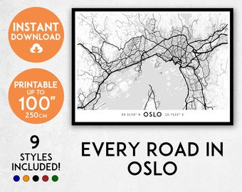 Oslo Poster Etsy - Norway map poster