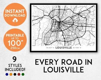 Louisville map print, Printable Louisville map art, Louisville print, Kentucky map, Louisville art, Louisville poster, Louisville wall art