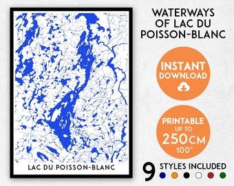 Lac du Poisson-Blanc map print, Lac du Poisson-Blanc print, Quebec map, Quebec print, Quebec art, Canada map, Lac du Poisson-Blanc poster