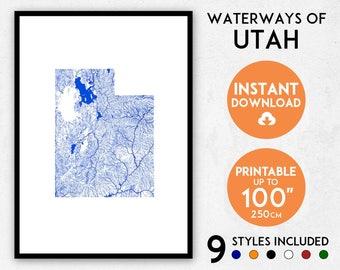 Utah map print, Utah print, USA map, Utah poster, Utah wall art, Map of Utah, Utah art print, Utah map poster, Utah gift, USA print