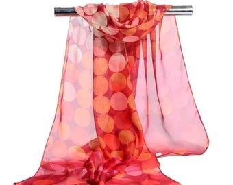 Red spot print chiffon scarf
