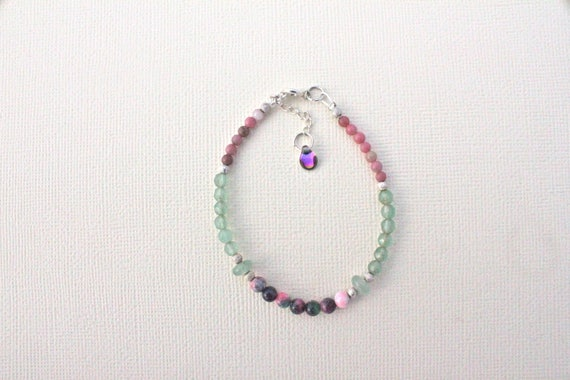 Gemstones and Silver 925 Bracelet: jade candy, aventurine and rhodonite