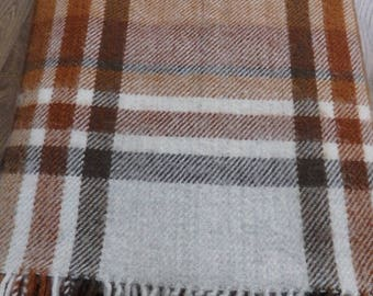 A vintage Swedish Wool Blanket Browns and Grey/White 205 x 133 cms