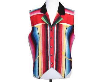 vintage southwestern vest • woven vest • western tapestry vest • striped collared vest • silver buttons • Gerard by Pege • womens size S M