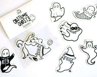 Halloween Costume Ghost Stickers! Pack of 6!