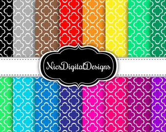 Buy 2 Get 1 Free-16 Digital Papers.  Moroccan in Rainbow Colours (1Eno 4) for Personal Use and Small Commercial Use Scrapbooking