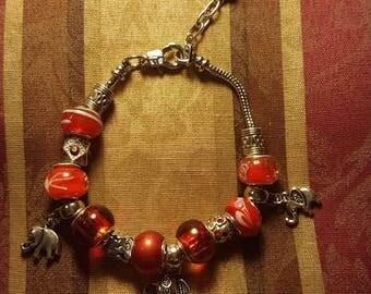 Red European Beaded Elephant Charm Bracelet