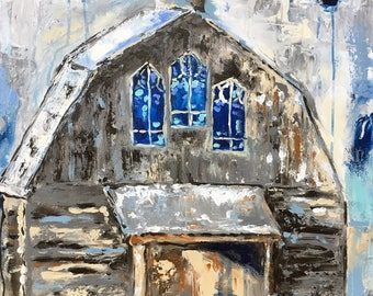 Stained Glass Barn/20x20/church/blue/gray/drips/country living/small/ gift/impressionism/old vintage/