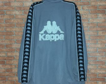 Rare!!! Vintage KAPPA spellout Big Logo Embroidered Jacket Zipper Vtg Kappa Sweater Streetwear Hip Hop L size