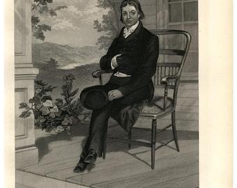 19th Century Portrait original steel engraving of John Randolph, decorative art, wall art, clipart, hotel art, Black and white