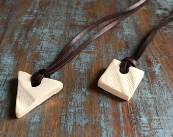 Clay diffuser necklace - on leather