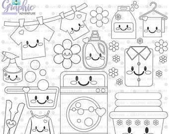 75%OFF - Laundry Stamp, COMMERCIAL USE, Digi Stamp, Digital Image, Party Digistamp, Laundry Coloring Page, Laundry Clipart, Laundry Graphics