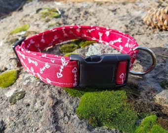 Red with White Heart Arrows Valentines Day Dog Collars