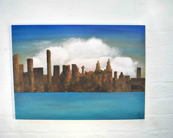 Liverpool Skyline Painting - Architecture Art - Waterfront Skyline - Skyline Art - Liverpool Waterfront - Landscape Art - Original Painting
