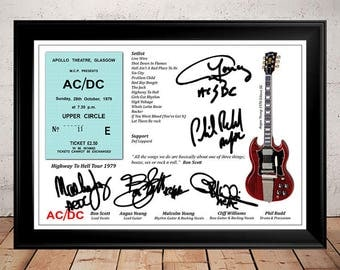 Bon Scott AC/DC Highway To Hell Gig Ticket 1979 Autographed Signed Photo Print