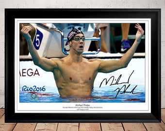 Michael Phelps Gold Medal Rio Olympics 2016 - Autographed Signed Photo Print