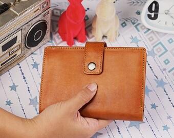 Spacey Wallet Men Women's Genuine Leather Wallet Card  Wallet Passport Wallet GIFT Handmade Bifold Light Brown IBA0761