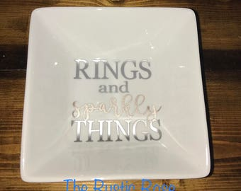 Rings and Sparkly Things Jewelery Dish/ Jewlery Dish/ Storage/ Trinkets/