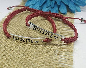 Custom Couples Bracelets, Set of 2, Couples Bracelet, Anniversary Bracelets, Macrame Bracelet, Bracelet Set, Special Date, Wedding