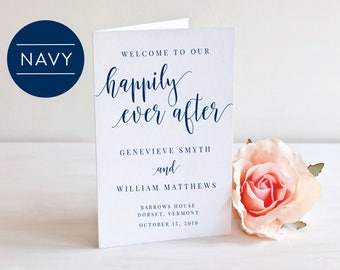 NAVY-Folded Wedding Program- Instant Download Printable- Editable PDF-DIY Template-Calligraphy Template-Printable Wedding Program-#SN022_FP