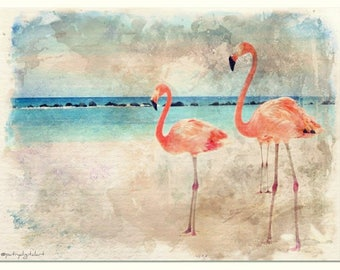 On the Beach watercolor painting art print
