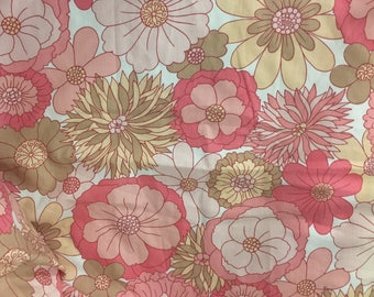 Vintage 60s 70s M&S St Michael retro flowers single bed valance bed frill cotton
