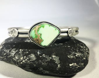 Natural Carico Lake Turquoise + Sterling Silver Thunderbird Cuff