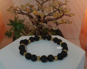 Bracelet stone of lava rock 8 mmX2 and round beads gold silver Tibet