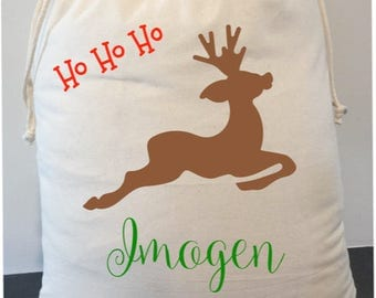 personalised santa sack 40cm x 50cm. We will upgrade your shipping to express at no extra cost