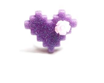 SALE 50% ring-geek - pixel heart glitter