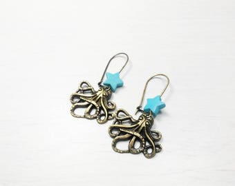SALE 50% steampunk - Octopus squid earrings