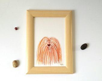 Dog painting, dog portrait, dog illustration, original artwork, gift for dog lover, aquarelle dog, nursery decor, wall decor, terrier puppy