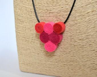 Handmade felt pendant necklace spirals triangle color pink