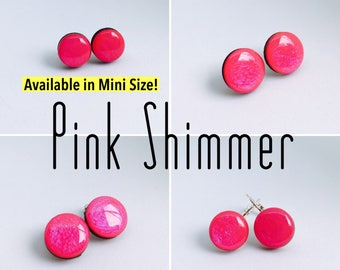 Pink Shimmer Round Resin/Bamboo Earrings - various sizes and bails • studs • clip ons • drop • dangles • surgical steel • silver plated