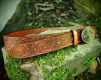 leather belt, celtic spiral design, brown, handmade