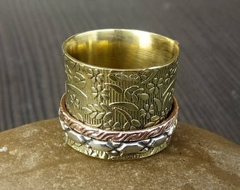 Brass spinner ring | Banjara style Ring | handcrafted brass ring | Spinning Jewelry | Christmas Gift For Women| Birthday gift ring | R107