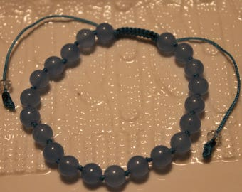 Cute Aquamarine-beaded hand-knotted bracelet; handmade, shamballa, beautiful, blue, casual-wear, party-wear