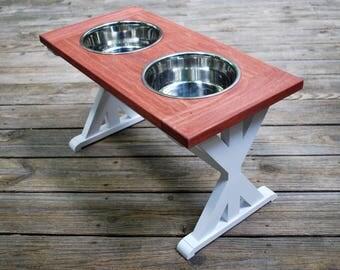 X-Large - Dog Bowl Stand - Raised Dog Feeder - Farmhouse Table - Dog Feeder - Raised Dog Bowl - Elevated Dog Feeder - Dog Bowl Holder - Dog