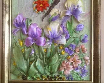 Mini embroidered picture.satin ribbon embroidery.Irises.Butterfly.Framed picture.