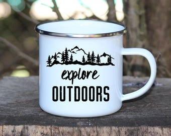 Camp Mug, Camping Cup, Enamel Mug, Explore Outdoors