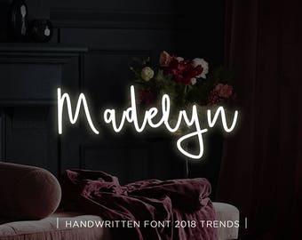 Madelyn digital font download, Calligraphy font, Digital font, Wedding font, Handwritten font, Download digital font, Swirly font, Script