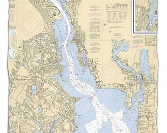 RI: Providence River, RI Nautical Chart Fleece Throw Blanket, Map Blanket